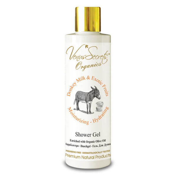 Shower Gel with Donkey Milk, Organic Olive and Exotic Fruits 250ml